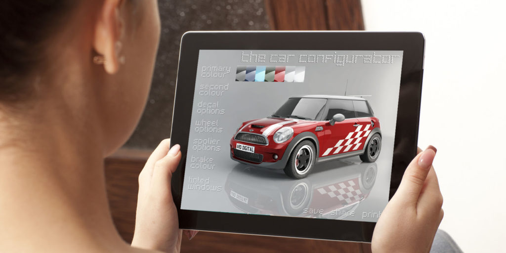 Interactive CGI car vehicle interior configurator application