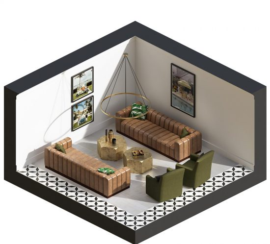 Punch Archive Mountain Vista Lounge Interior CGI Illustration Visualisation Animation