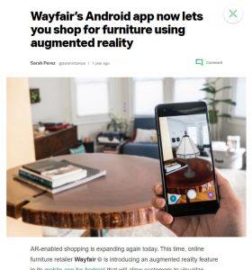 Wayfair furniture Augmented Reality Facebook Instagram